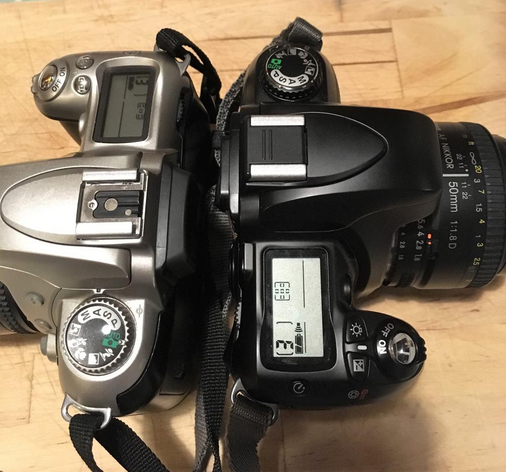 Nikon F55 (L) & F75 (R) Top Plates