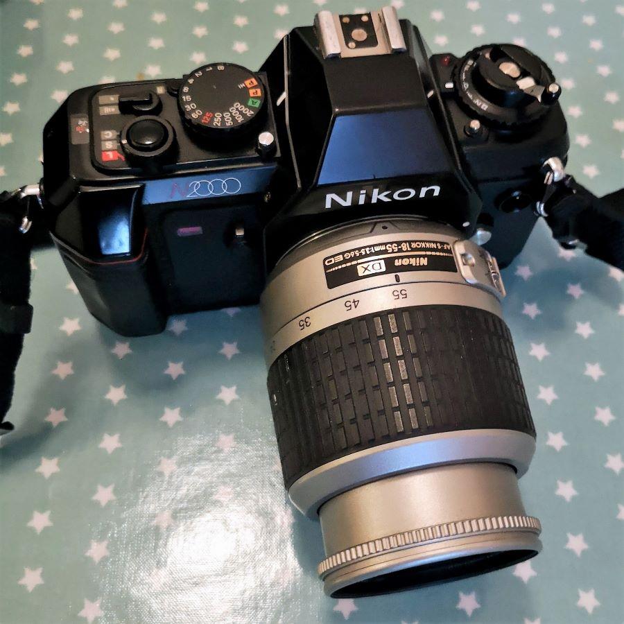 Nikon N2000 (F-301) with Nikkor 18-55 AF-S G DX lens