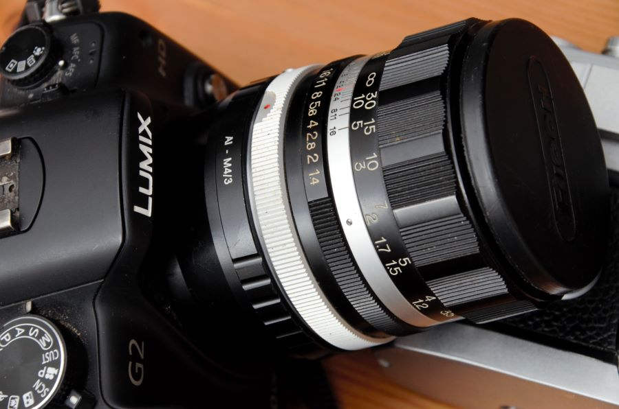 Lumix G2 with Auto Rikenon 55mm 1:1.4 mounted via adaptor