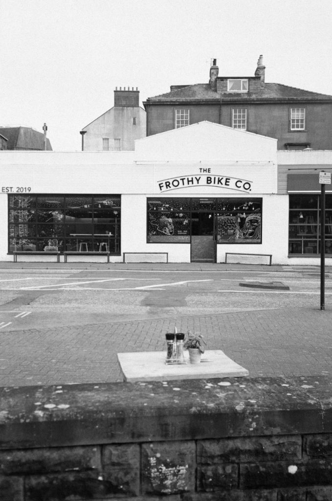Frothy Biker. Original Yashica MF-2 Super with Kodak BW400CN (expired 2014). Dumfries 2020