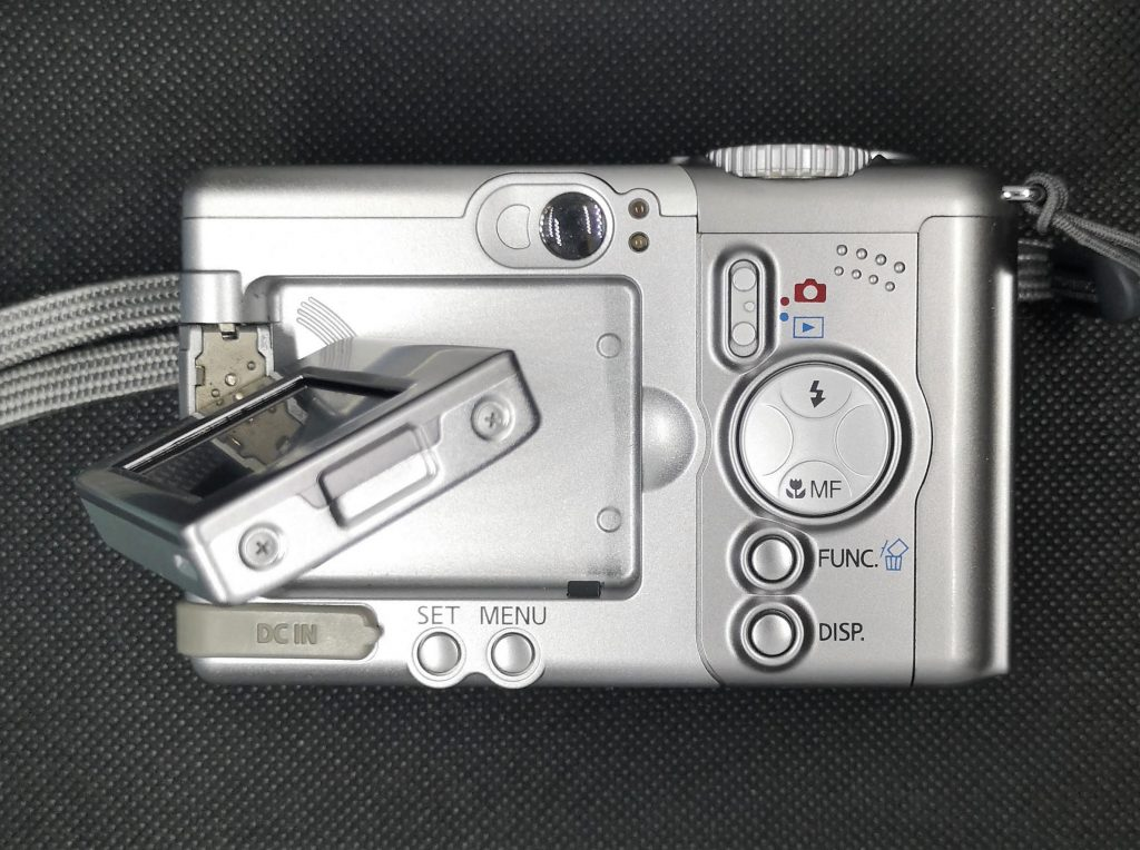Rear Of Canon Power Shot A80. Note articulating screen