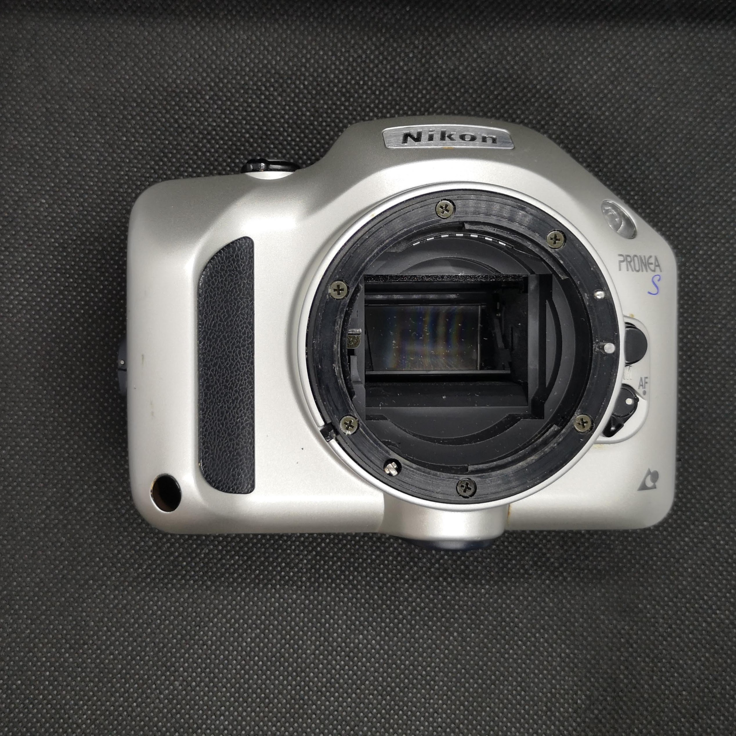 Nikon Pronea S without lens. Note plastic F mount