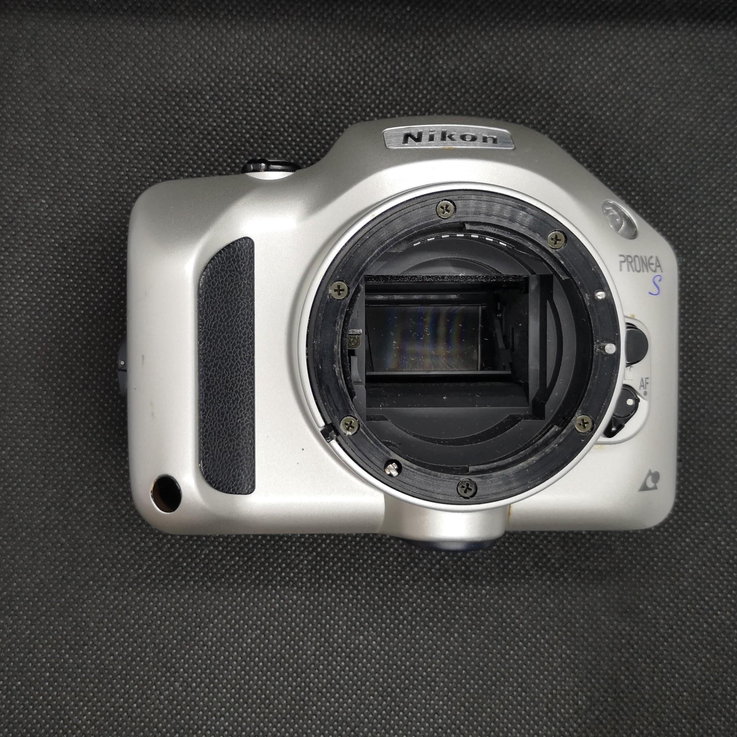 Nikon Pronea S without lens. Note plastic F mount