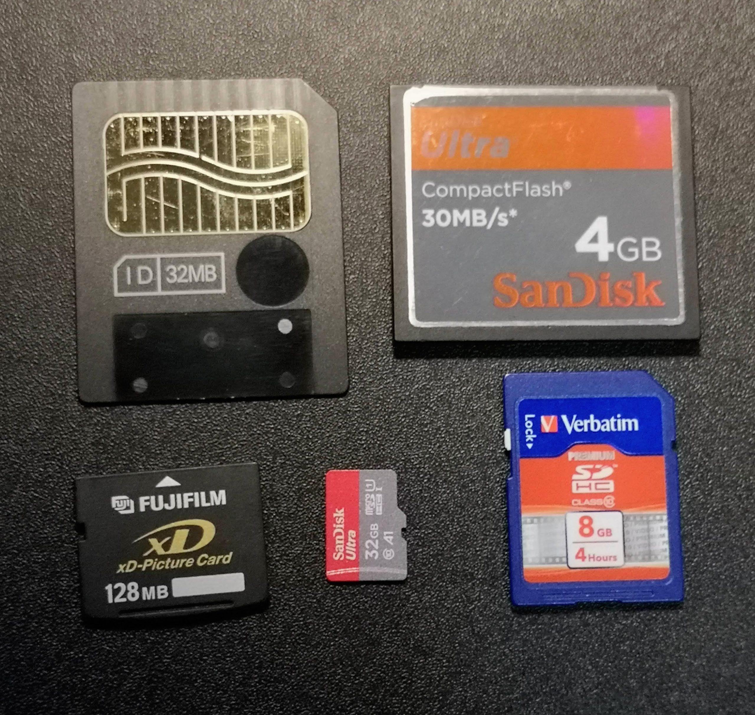 Various memory cards