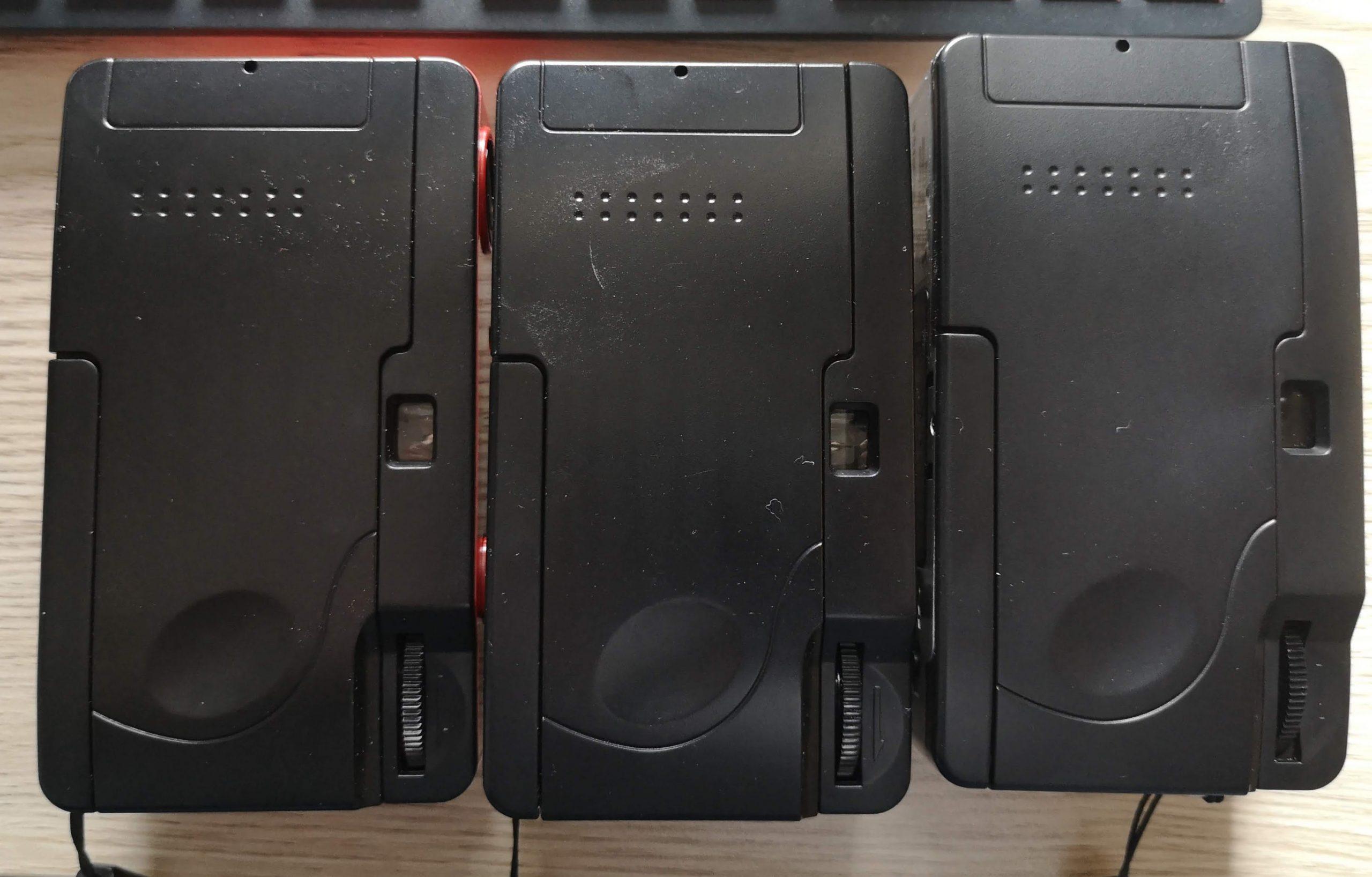 Rear of the  Kodak M35, Dubblefilm Show & Agfaphoto Analogue (L-R)