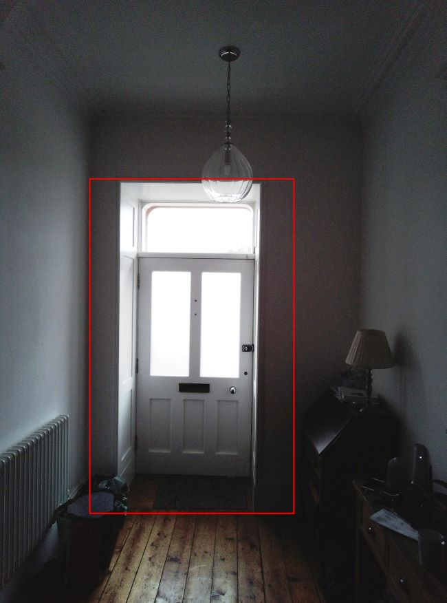Paper Shoot viewfinder marked approximately in re to actual shot. Taken from ~5m. Note anticlockwise rotated.